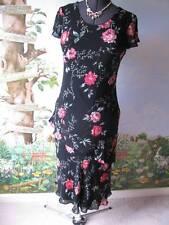 Eva Blue Women's Black Floral Tiered Cocktail Dress Size 6