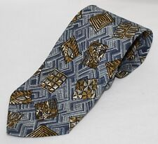 "Bally Classic Neck Tie Fern Blue & Gold Geometric Designs Width 3.75"" 57.5"" Long"