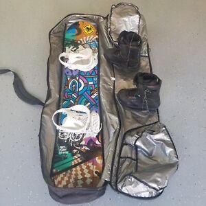 Snowboard, Bindings, And Bag