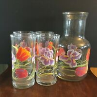 Libbey Juice/water carafe and four glasses Tulips and Iris pattern Gift