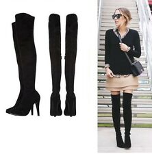 Womens Karen Millen Stretch Suede Thigh High Black BOOTS Size 41 UK 8