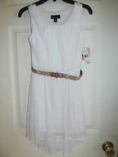 NWT Girl's Amy's Closet White Sleeveless Dress w/ Aztec design thin belt sz 8