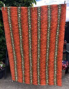 1 X Vintage Barkcloth Curtain. Mid Century 60s / 70s Orange Abstract, Fabric