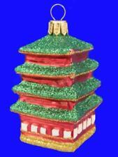 PAGODA JAPAN LANDMARK EUROPEAN BLOWN GLASS CHRISTMAS TREE ORNAMENT
