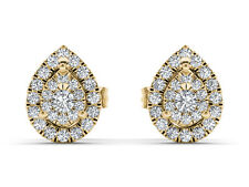 10k Yellow Gold 0.25 Ct Round Cut Diamond Pear Shape Fashion Earrings Real Solid