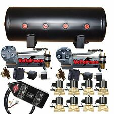 "Air Compressors VoltAir 480C 3/8"" Valves Air Bag Management 5-Gal Blk 7 Switch"