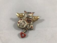 Silver& Gold Cat W/wings Pin/brooch With Red Heart,