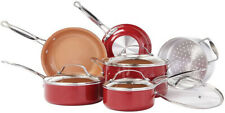 BulbHead Red Copper 10 PC Copper-Infused Ceramic Non-Stick Cookware Set B14E New