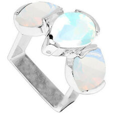 LOVELY12.87 CTW GENUINE DIAMOND & CREATED FIRE OPAL IN 925 STERLING SILVER RING