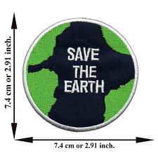 Save The Earth World Love Planet Map Logo Peace Applique Iron on Patch Sew