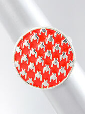Silver and Red Houndstooth Stretch Ring