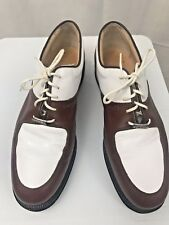 Tags Golf Shoes Womens Green Grass Collection Golf Brown White Leather Italy 10