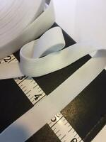 Flat Woven Elastic 20mm 2cm 3/4 inch wide WhiteTailoring Sewing SOFT STRETCH UK