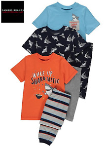 Ex Store Boys Shark 3 Pack 2 Piece Pyjama £5 Each Set Kids Childrens