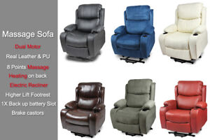 Leather Recliner Electric Lift Heating Massage Disable Chair Sofa Dual Motor New