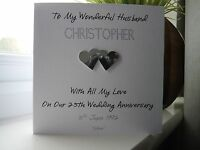 Handmade Personalised Silver 25th Wedding Anniversary Card Husband Wife Couple
