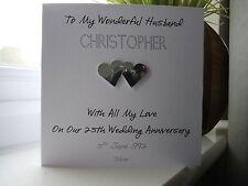 Handmade Personalised Silver 25th Wedding Anniversary Card Husband Wife Couple