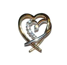 9ct 2 Colour Gold & Cubic Zirconia Double Heart Pendant