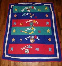 Vintage JC Penney Little Boys Room Quilt Blanket - Circa 1990's - Sports Theme
