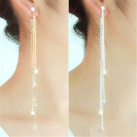 Fashion Womens Charm Rhinestone Long Tassels Drop Dangle Party Linear Earrings