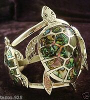 TAXCO MEXICAN 925 STERLING SILVER ABALONE TURTLE CUFF BRACELET MEXICO