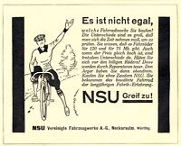 NSU Fahrrad Reklame von 1927 Rennrad Neckarsulm Bicycle Werbung Ad