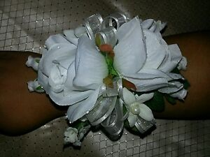 Wedding rose stephanotis white ivory wrist corsage prom homecoming military ball