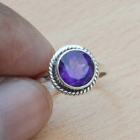 Natural Amethyst Gemstone Gemstone 925 Sterling Silver Handmade Gift Ring Size 6