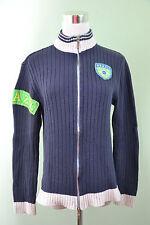 Mens Vtg 90s Retro Blue Brazil College Look Ribbed Knit Zip Cardigan sz M/L H61