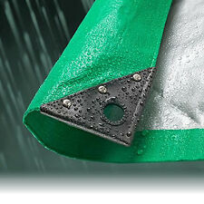 5.5M x 7.0M GREEN/SILVER WATERPROOF TARPAULIN SHEET TARP COVER WITH EYELETS