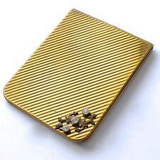 Vintage Gold Tone Product NYC USA Purse Pocket Photo Holder 3 Rhinestones Retro