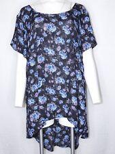 TORRID 3 Plus Size High Low Short Sleeve Top Floral Black Purple Blue