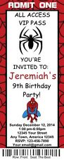 12 Personalized Spiderman Birthday Ticket Invitations w/Envelops