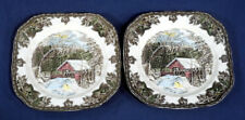 Johnson Brothers Friendly Village 2 Square Salad Plates Covered Bridge 7-3/8""