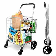 Supenice Grocery Utility Shopping Cart - Deluxe Folding Cart with Double Bask.