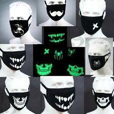 Black Face Halloween Mask Glows in the Dark Washable Halloween Unisex Adult Mask