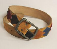 WIDE Vintage 70s BIKER Western Suede Leather Colors Ranger HIPPY Cowboy Belt 32