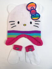 Hello Kitty by Sanrio White Knit Winter Hat & Mitten Set Toddler One Size NWT