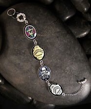 Handmade Gothic Ouija Spirit Board Silver Glass Halloween Horror Charm Bracelet