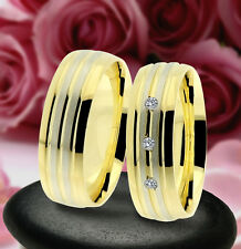 2 Trauring Eheringe Verlobungsringe , GOLD PLATIERT , J232-3