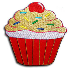 Cupcake Cup Cake Patch Iron on Rockabilly  Simpsons Retro Cherry Goth Applique 1
