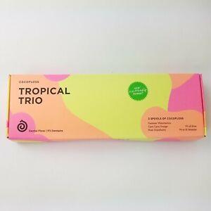 Cocofloss Tropical Trio Dental Floss SET OF 3 Watermelon Orange Strawberry Vegan