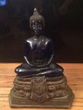 Blue Buddha In Resin On Bronzed Treasure Chest