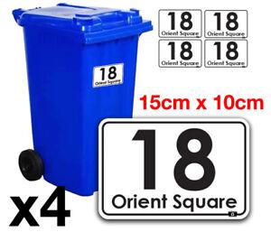 4 x Wheelie Bin Numbers Various Designs Self Adhesive Wheely Bin Sign Sticky