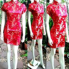 Asia-Miss China Geisha Qipao/Cheongsam Mini-Kleid/Kostüm Rot/Gold Gr.34-46