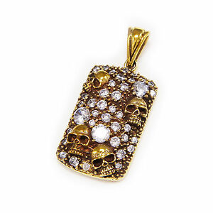 GOLD BRASS GRAVEYARD SKULLS BRILLIANT CUT WHITE CUBIC ZIRCONIA PENDANT nd-069