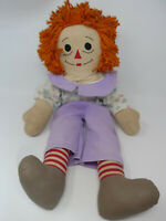 """VINTAGE AURORA RAGGEDY ANDY CLOTH PLUSH TOY DOLL 26"""" PEARL BUTTONS"""