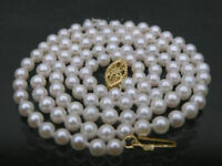 AAA+++ JAPANESE perfect round 4.5-5 mm white akoya pearl necklace 14K solid gold