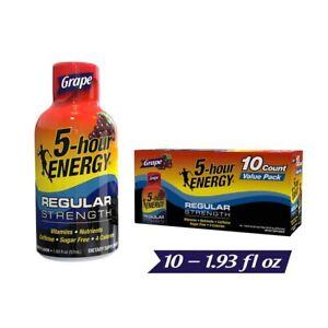 5 Hour Energy Energy Shots, Grape, 10 Count | Regular Strength