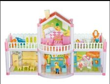 Doll House Set 2 Story 4 Rooms Barbie Doll Dollhouse + furniture's & figures